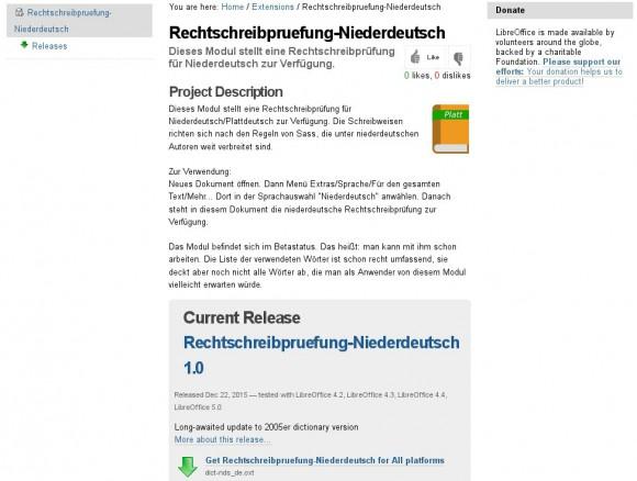 Plattdeutsch für LibreOffice ist ab sofort verfügbar