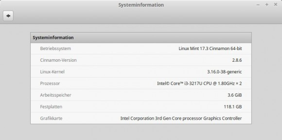 Systeminformationen: Linux Mint 17.3 Rosa