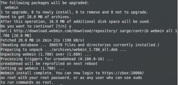 Aktualisiert: Webmin 1.780 ist installiert