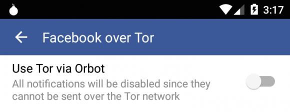 Facebook over Tor und Orbot - Benachrichtigungen sind aber nicht mehr drin (Quelle: facebook.com)