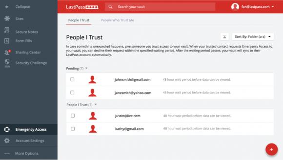 LastPass 4.0 mit Optionen für den Notfall (Quelle: lastpass.com)