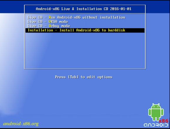 Android-x86 4.4-r4 lässt sich von einem startfähigen USB-Stick installieren