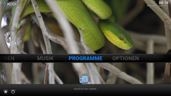 OpenELEC mit Confluence und einem eigenen Hintergrundbild
