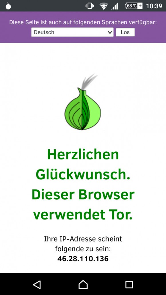 Orfox ist mit dem Tor-Netzwerk verbunden