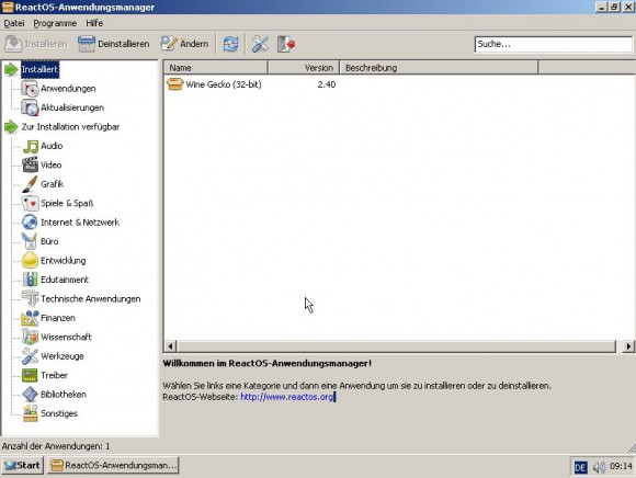 ReactOS 0.4.0: Anwendungs-Manager