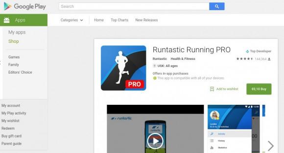Runtastic Running Pro derzeit für 10 Cent