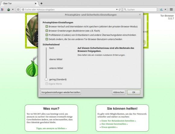 Tor 5.0.7: Sicherheitseinstellungen