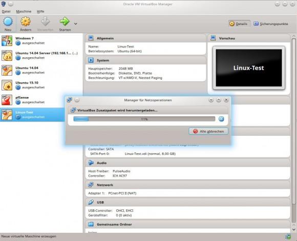 VirtualBox 5.0.14: Zusatzpaket herunterladen