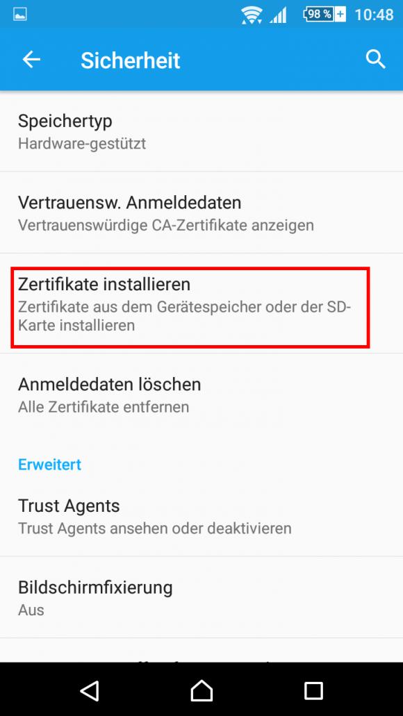 Zertifikat installieren