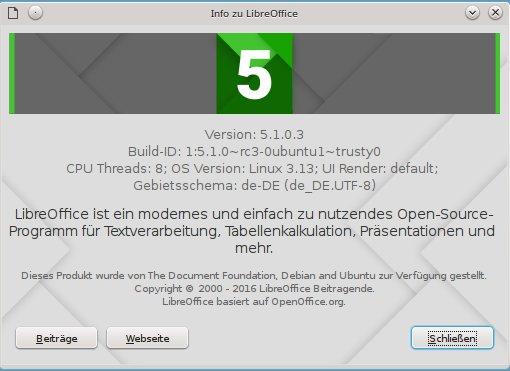 LibreOffice 5.1 unter Ubuntu zeigt rc3 an. Diese Version ist identisch zum finalen Produkt.