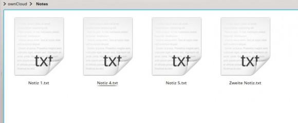 ownCloud Notes sind einfache .txt-Dateien