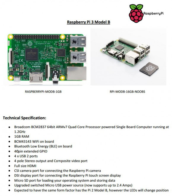Raspberry Pi 3 nach Farnell (Quelle: raspberrypi-spy.co.uk)