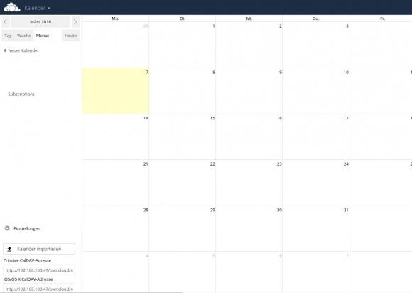 ownCloud 9 Kalender