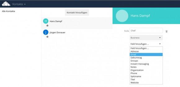 ownCloud 9 und das Frontend für Kontakte