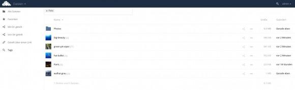 ownCloud 9 - nach Tags filtern