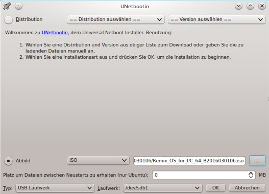 Remix OS via UNetbootin installieren