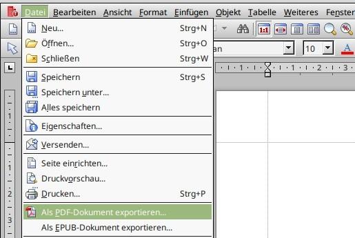 Mit FreeOffice 2016 als PDF oder EPUB exportieren
