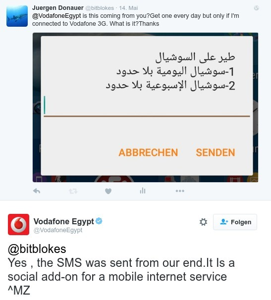 Offer or as I call it spam is from Vodafone Egypt