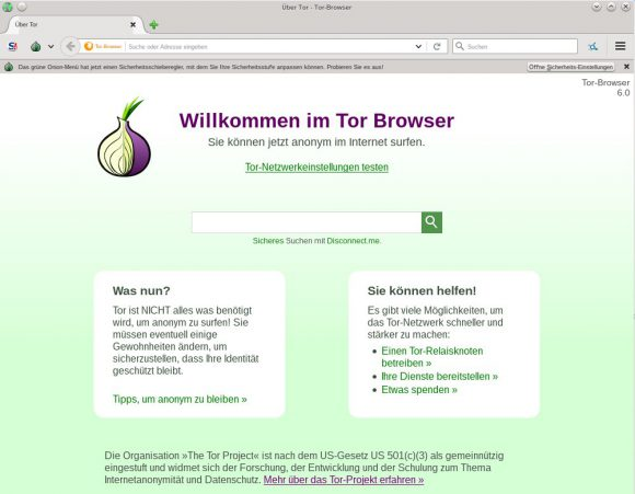 Tor Browser 6.0  ist in Tails 2.4 enthalten