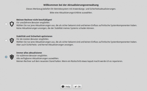Auch Linux Mint 18 Xfce fragt nun, wie aktualisiert werden soll.