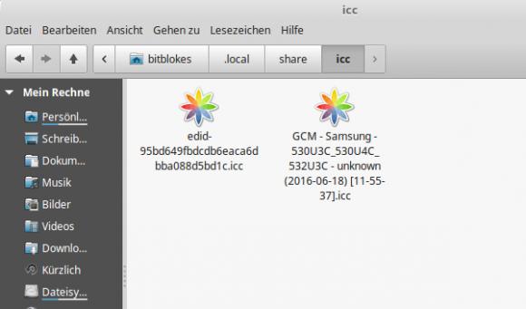 Speicherort der icc-Dateien