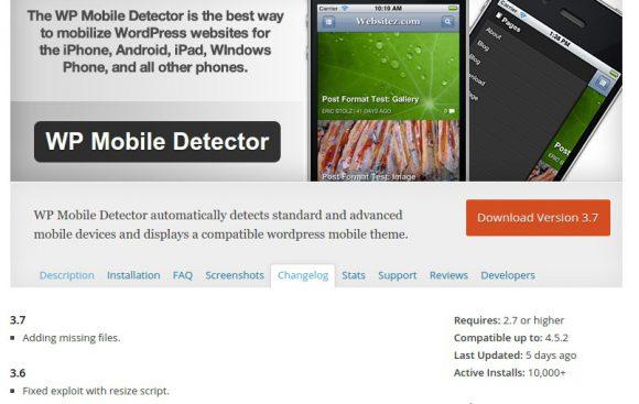 WP Mobile Detector ist in der Zwischenzeit gefixt