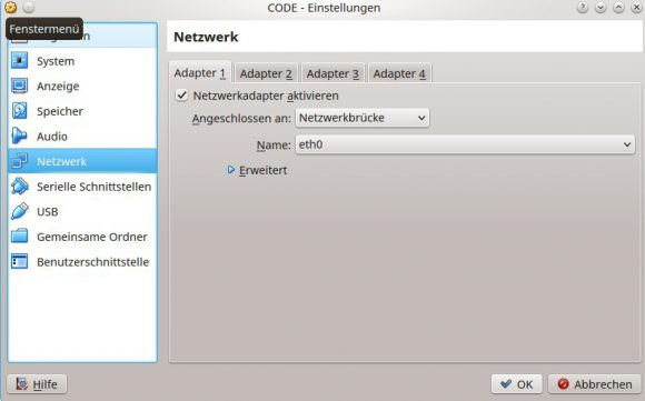 Als Netzwerkbrücke konfiguriert