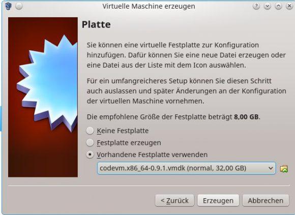 CODE - Vorhandene Festplatte verwenden