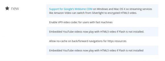 Firefox 47 wird bei eingebetteten YouTube-Videos HTML5 nehmen, wenn Flash nicht installiert ist - das wird gleich doppelt erwähnt :)