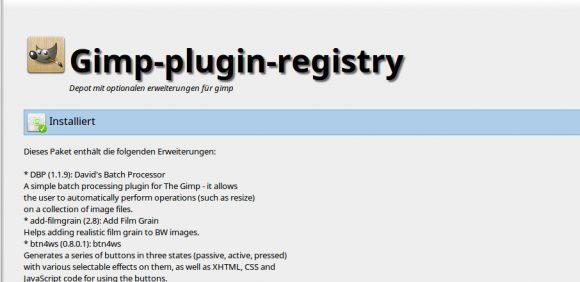 Gimp-plugin-registry