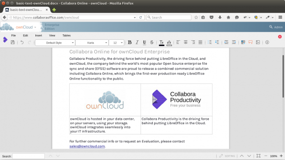 Collabora Online for ownCloud Enterprise - Writer (Quelle: collaboraoffice.com)