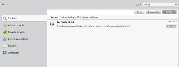 TorBirdy 0.2.0 ist in den Add-ons von Thunderbird noch nicht zu finden