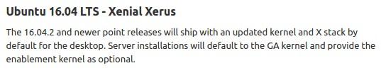 Für Ubuntu 16.04.1 LTS gibt es keinen neuen Hardware Enablement Stack