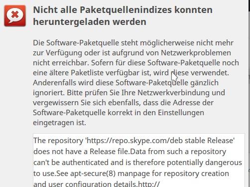 Fehler bei Skype-Repository
