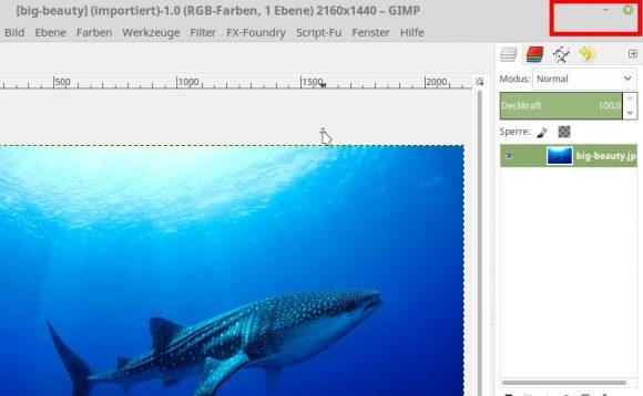 Maximieren bei GIMP ist plötzlich verschwunden