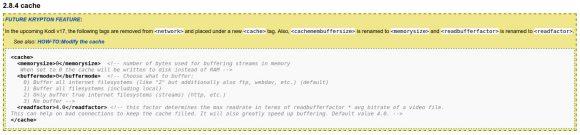 Kodi 17 - aus <network> wird <cache>