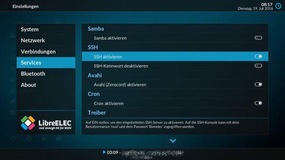 SSH für LibreELEC aktivieren