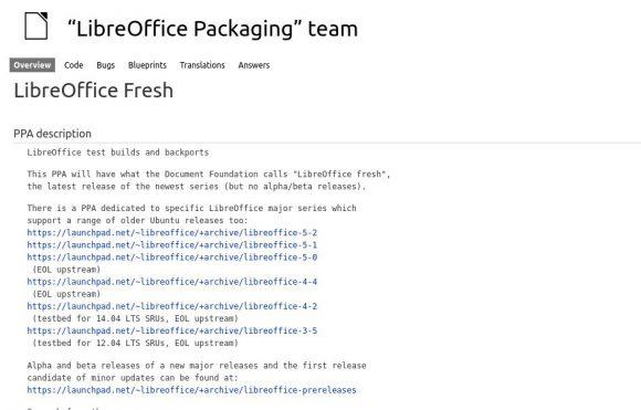 LibreOffice 5.2 im Fresh-PPA