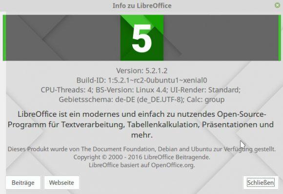 LibreOffice 5.2.1 unter Linux Mint 18 via PPA installiert