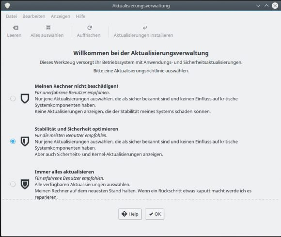 Update Manager bei Linux Mint 18 KDE