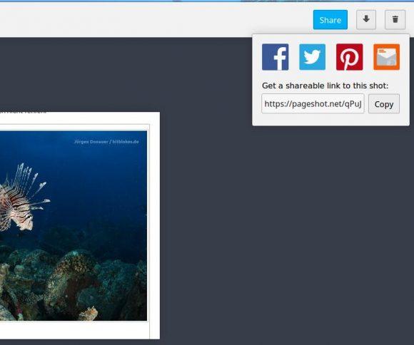 Den Screenshot teilen