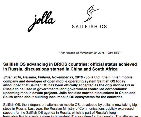 Jolla, Sailfish OS und Russland kuscheln