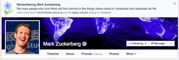 Auch Mark Zuckerberg wurde vom Bug als tot deklariert ...