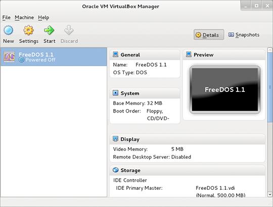 FreeDOS 1.2 RC2 sollte genau wie Version 1.1 in einer VM laufen