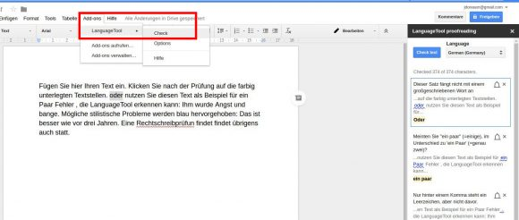 Mit LanguageTool in Google Docs prüfen