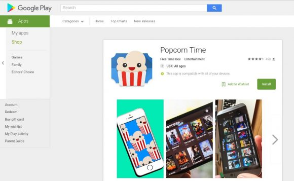 Popcorn Time im Google Play Store?