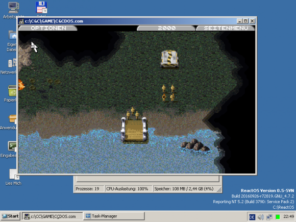 ReactOS 0.4.3 und Command & Conquer (Quelle: reactos.org)