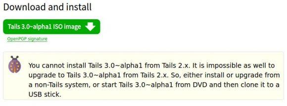 Tails 3.x lässt sich nicht via Tails 2.x installieren