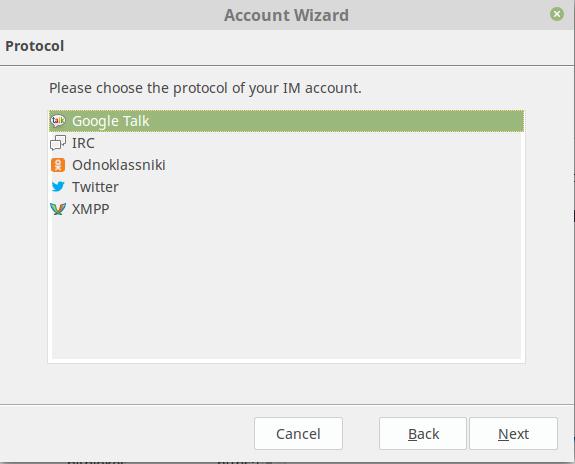 Die von Tor Messenger derzeit unterstützten Protokolle