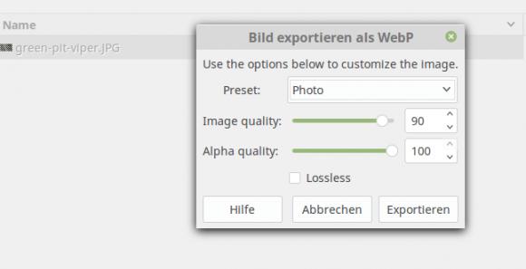 WebP aus Gimp erstellen